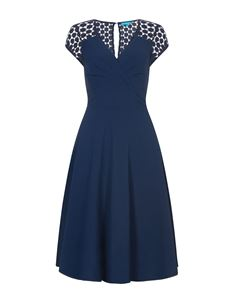 Eucalyptus Vintage Inspired A-Line Dusty Navy Chiffon Evening Dress