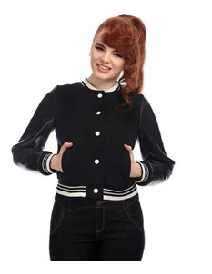 Collectif Britney 50s Grease Style Black College Jacket