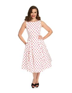 1ce386fcd048 Hearts & Roses Cindy Polka Dot 50s Yellow Brown Dress