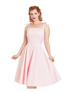Voodoo Vixen Hannah Polka Dot Spotted Pink Dress