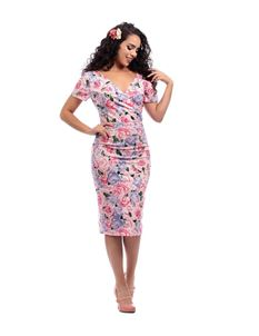 Collectif Maria Country Garden Pink Floral Pencil Dress