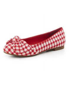 Collectif Naomi Red And White Flat Shoes