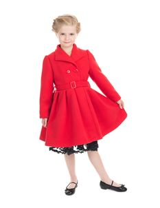 H&R London Red Vintage Kids Swing Coat