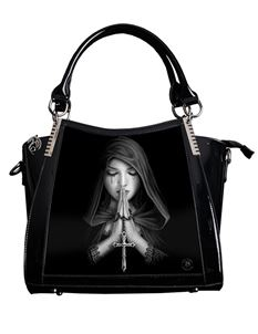 Anne Stokes 3D Gothic Prayer PVC Black Handbag