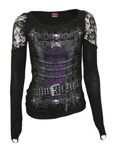 Spiral Direct Waisted Printed Corset Alternative LS Top