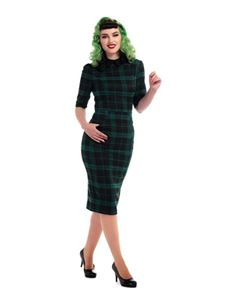 Collectif Winona Slither Black Green Check Pencil Dress