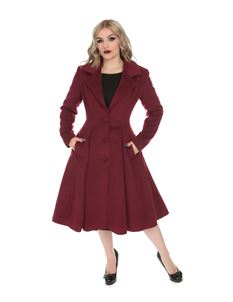 Hearts & Roses Wine Lauren Single Breasted Swing Coat