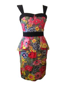 Primm Rose Clothing Colourful Peplum Wiggle Dress Sz 12
