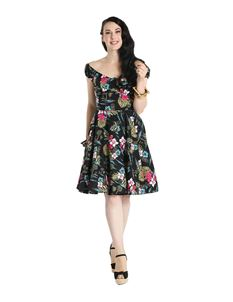 Hell Bunny Noa Noa Tiki Floral Gypsy Mid Dress
