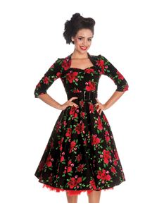 Hell Bunny Eternity 50's Dress in Black With Roses