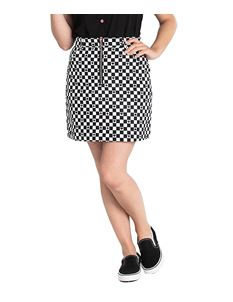 Hell Bunny Pokerface Zip Check Alternative Mini Skirt