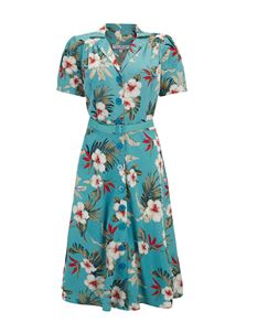 Rock n Romance Hawaiian Shirt Waister Dress In Teal