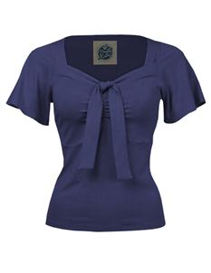 Pretty Retro Tie Navy Blue Top