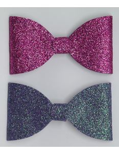 Said Lucy Purple And Pink Glitter Bow Set
