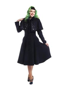 Collectif 40s 50s Navy Blue Claudia Stars Coat & Cape