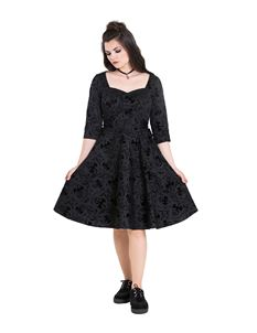 Hell Bunny Maleficent Dragon Velvet Flock Black Dress