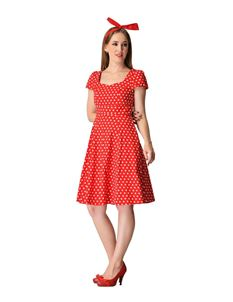 Claudia Flirty Fifties Red White Polka Dot Dress