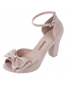 Zaxy Diva Bow Blush Nude Heels With Ankle Strap