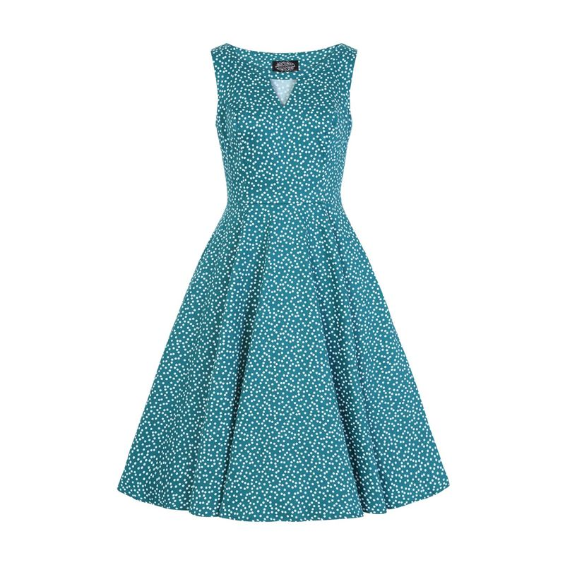 Hearts & Roses La Rosa Dotty Spotted Green 50s Dress