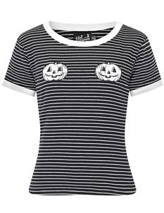 Hell Bunny Skelli Pumpkin Halloween Black Striped Top