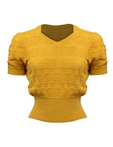 Pretty Retro Mustard Short Sleeve Lacey Knitted Jumper