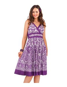 D401 Paisley Floral Summer Beach Sun Dress Purple