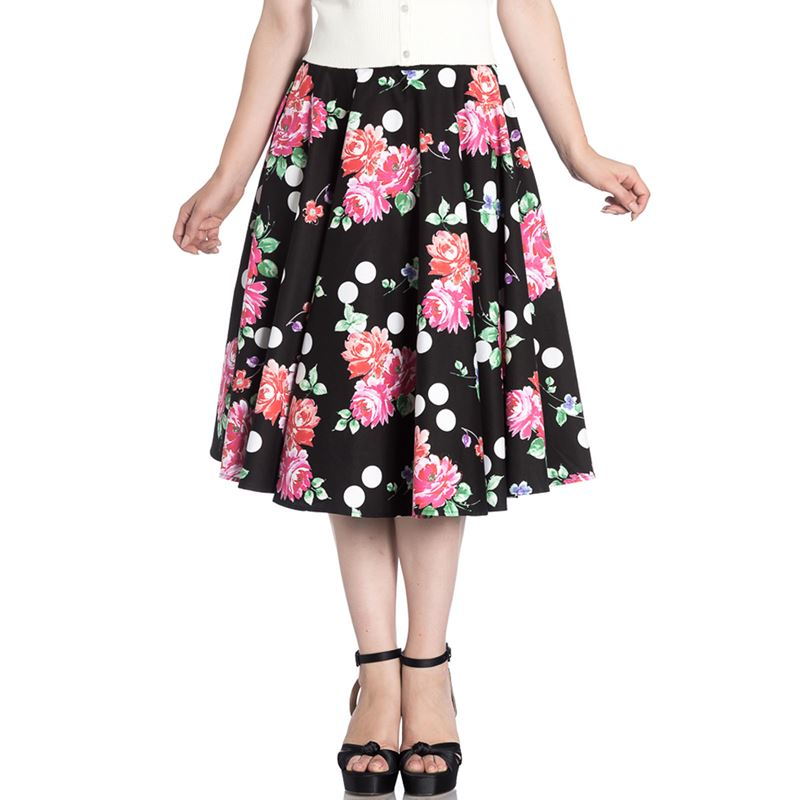 Hell Bunny Collarette Polka Floral Circular 50s Skirt