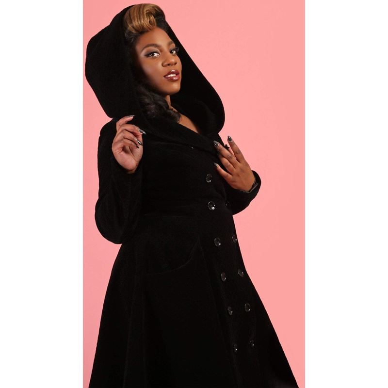 Collectif Heather Black Quilted Velvet 50s Style Hooded Coat