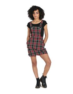 Hell Bunny Clash Pinafore Mini Dress Red Tartan