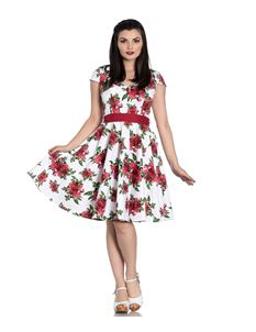 Hell Bunny Lorene White Floral Summer Dress with Roses