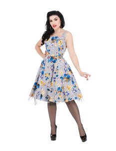 Hearts & Roses Constance Blue Lavender Dots Swing Dress