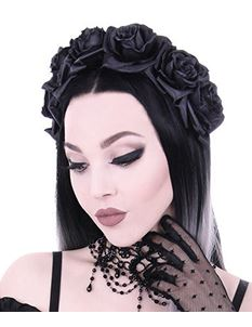 Restyle Black Roses Gothic Wreath Garland Headband