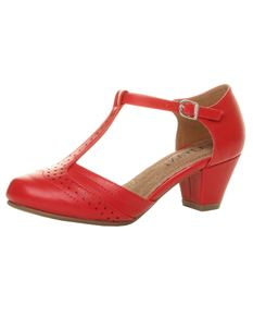 Red 1940s Mid Heel T Bar Brogue Court Shoes
