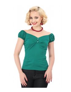 Collectif Dolores 50s Vintage Style Green Gypsy Top