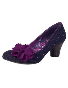 Ruby Shoo Samira Flower Court Shoes Mid Purple Heels