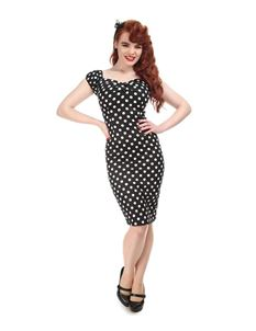 Collectif - Black And White Polka Dot Wiggle Dress