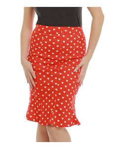 Lindy Bop Naya Red Love Heart Fishtail Wiggle Skirt
