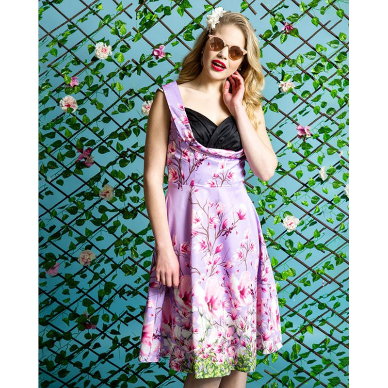Lindy Bop Ophelia Lilac Dragonfly Print Swing Dress