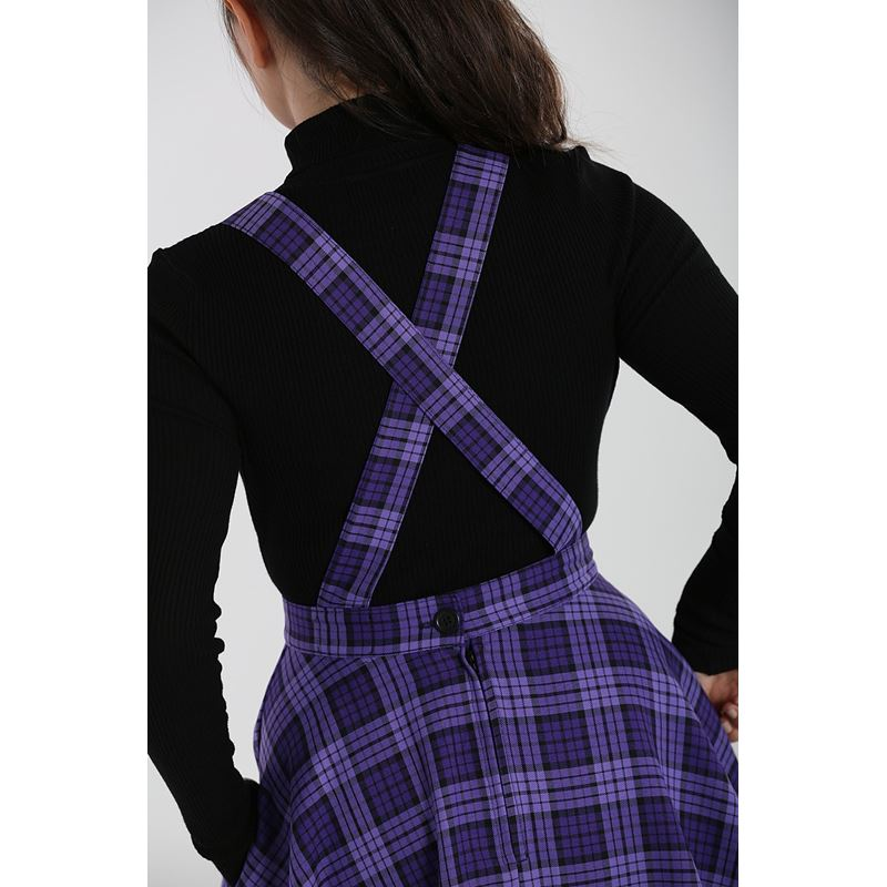 Hell Bunny Kennedy Tartan Check Mini Pinafore Dress