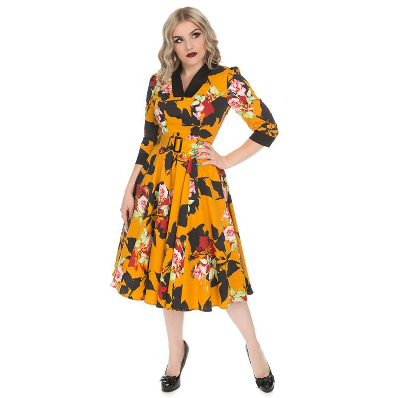 Hearts   Roses 50s Mustard Autumn Floral Swing Dress b68a5977e