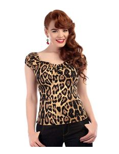 Collectif 50s Gypsy Style Feral Leopard Dolores Top