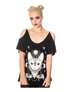 Banned Talula Sphynx Cat Alternative Cut Out Top Black