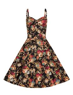 Bettie Vintage Retro's 50's Black Mix Floral Dress