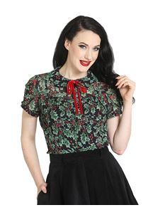 Hell Bunny Holly Berry Vintage Xmas Chiffon Blouse Top