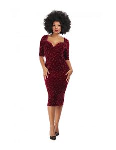 Collectif Trixie Wine Red Velvet Sparkle Pencil Dress