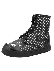 SALE UK 4 only TUK Kitty Polka Dot Combat Boots Black & Wht