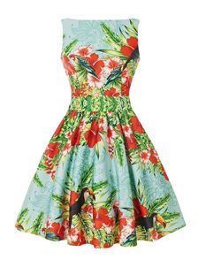 Lady Vintage 50's Tropical Toucan & Hibiscus Tea Dress