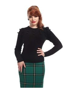 Collectif Barbara Classic 50s Black Pom Pom Jumper
