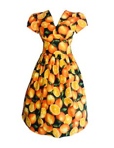 Silly Old Sea Dog 1950s Orange Oranges Dress