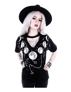 Restyle Moon Phases Constellations Choker T-Shirt Top